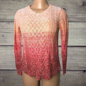 St Johns Bay Knit Pink Ombre Long Sleeve Sweater